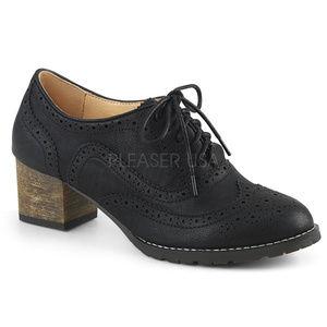 "Shoes - 2"" Heel Wingtip Oxford Spectator Saddle Shoes"